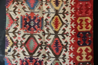 "Early 19th century Hotamis kilim fragment, Anatolia, 2'10"" x 9'0"" with an uncanny purple."