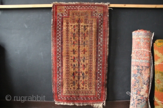 """Charming camel field Belouch prayer rug 2'11"""" x 5'3""""/89 x 160cm. All natural dyes and a very attractive asymmetry to the design. Low pile, showing foundation in places, bottom left corner has  ..."""