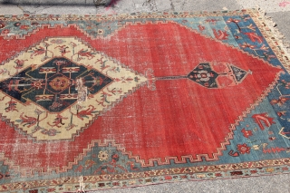 "Huge and fantastic Serapi fragment 8'3"" x 15'4"" / 250 x 468cm Has been thoroughly cleaned, steamed and de-mothed. Knots do not fall out due to super fine quality. Gorgeous mid and  ..."