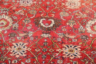 "Pretty Mahal carpet circa 1910. In as found condition, worn with various old and faded repilings. Still with a good look and useable. Clean and ready for your floor 8'5"" x 10'0"""