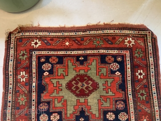 """19th Ca Kazak weave with Leshghi star Old Repairs.  Colors Bright and sound. 5'3""""x3'1"""""""