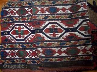 Soumac mafrash side panel.  High contrast design with natural dyes, and crisp drawing.  A few areas of exposed foundation and a bit missing from top-left corner.  Email with questions,  ...