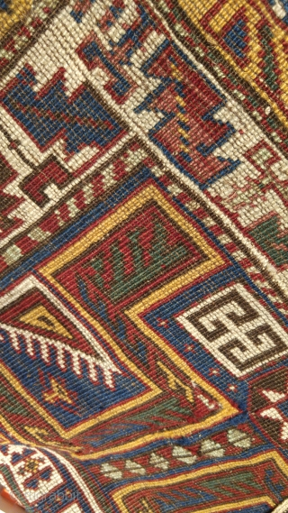 """Antique Avar rug.  86cm x 112 cm  (34"""" X 44"""") Good, saturated colors and overall condition. Loose handle"""