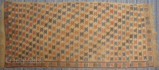 """Rare Yellow Ground Transcaucasian possibly Shahsavan wool on wool jijim embroidery, 2 separate panels measuring 2'5"""" x 5'5"""" and 2'5"""" x 5'1"""". Very good condition with original braided ends. A few small  ..."""