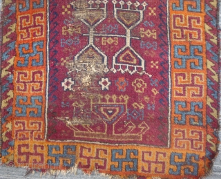 East Anatolian Yoruk prayer rug with Rare Swastika Variant Border, 29 x 59 inches. Late 19/early 20th century. Original multicolor wool side finish, somewhat rough; upper end remnants of original kilim finish,  ...