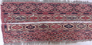 Antique Chodor Turkmen main carpet end panel fragments, 83 x 8 inches each. Warp: gray and brown goat; Weft: tan wool and white cotton. Asymmetric knots to right.
