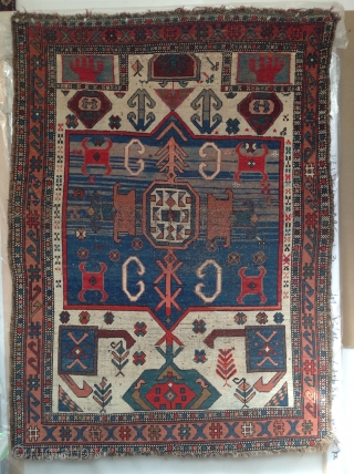 South Caucasus Kazak or Karabagh prayer rug with Ivory Field. Circa 1900. A rare type. Mostly even low pile. Professionally cleaned.