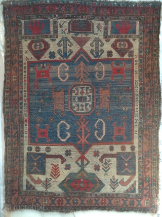 South Caucasus Kazak or Karabagh prayer rug with Ivory Field. Circa 1900. A rare type. Mostly even low pile. Reasonably priced.