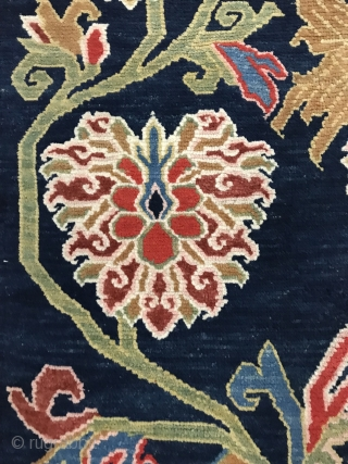 Tibet blue ground color bauhinia carpet, the beginning of the 20th century, size 158x80cm, all wool, welcome to consult