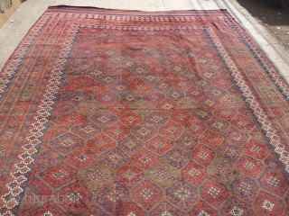 "Rare LargeBaluch Rug with beautiful design colors condition and size,All good dyes,and excellent condition,Both ends have kilim.Wool on wool 100%E.mail for more info.Size 18'10*10'2""."