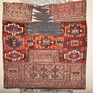 Beautiful 19th century Music for the eyes Luri/Bakhtiar Sadle Front Bag Stunning mostly fullpile soft wool. Eye catcher Purple and other Natural colors. Washed and cleaned by hand... collection and Dispaly Ready.. size is  ...