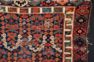 Beautiful 1870's Large Antique Kurdish Bagface fragment as found with Rare patern and All Good Saturated Natural Colors