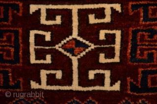 Very Rare Top Condition Antique Turkoman Germech or Girmez All natural colors and Beautiful patern. approx size 26 x 101 centimeters