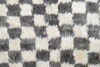 """A vintage hand-knotted """"Chessboard Tulu"""" (Turkish word for """"thick piled"""") rug from Konya in Central Turkey. 100% Natural undyed sheep wool. size:151x126cm             ..."""