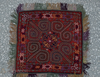 late19th Century a very unique and colourful antique Kirghiz silk suzani embroidered squared wall hanging.size:43x45 cm 17x18inches