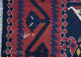 """Caucasian Karabag main kilim with a date writing 1324 That comes to 115 years old wool on wool-all natural dyes  Size:183 x 435 Cm         6'2""""  ..."""