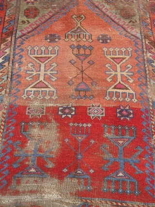 """Early Anatolian Prayer Rug Fragment with good colors and design.As found.Size 3'8""""*3'4"""".E.mail for more info and pics."""