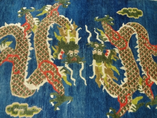 """Beautiful blue ground chinese dragon rug with great colors and shiny wool.Good condition and design.Size 5'7""""*3ft.E.mail for more info and pics."""