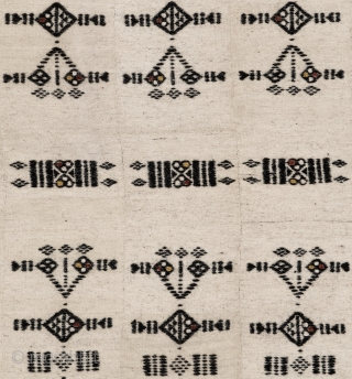 A lovely vintage finely handwoven African soft goat hair blanket made by Hausa Fulani tribes. A fine black colored traditional geometric pattern is featured allover the ivory colored fine wool. This blanket  ...