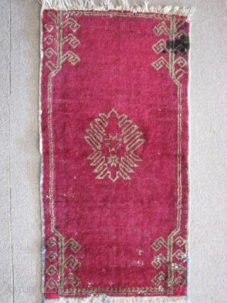 Mucur - Kırşehir(central anatolia) pillow rug from early 20th century.  size: 90cm x 47cm - 2.95ft x 1.54ft. To see my other collections go to,   https://www.facebook.com/KilimCulture http://stores.ebay.com/Kilim-Culture https://www.pinterest.com/KilimCulture https://www.etsy.com/shop/KilimAndCulture  Thank you.