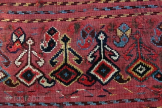 {78 & 79} Qashgai mafrash panels (two!), ca. 1890, one with animals. Untouched by repair, yet in fine condition for their age. Organic dyes.  -Kolya
