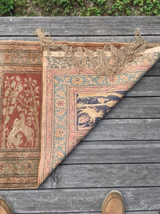Keyseri Saph, 76 cm x 231 cm, ca. 70 years old, mercerized cotton. This piece was (properly) hung in the same spot for 40 years. Note faded dyes.