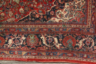 Keshan - 258 x 336 cm. Ca. 1930s Even wear in lower half, good pile in other half. All organic dyes, finely knotted, very robust. Small cut in lower guard; very small amount  ...
