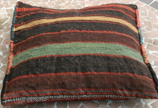 {19} Veramin pillow (bag front & back), 42 X 41, late 19th c., vibrant natural dyes, full pile front, striped kilim back, beautiful work.