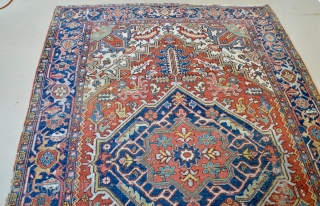 """Handsome Heriz or Karaja rug size: 6'8"""" x 9'4"""", wool on cotton with mostly even pile and small scattered areas of wear."""