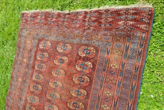 """Fine  Turkmen Tekke, circa 1900-1920, all wool, Long size 5' x 7'9"""", Low pile, small moth-damaged areas, a spot with discoloration. Overall beautiful."""