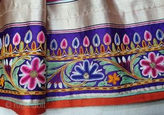 Rare Lahariya Pattern Mashru Mochi Embroidery Ghaghra(Skirt) From Kutch Gujarat-India. India. C.1850. Its size is 93cmX795cm  Silk, Embroidered with Silk thread,This Mashru weaving done in Mandvi-Kutch-Gujarat ,Its Silk And SilkLahariya Pattern which is one  ...