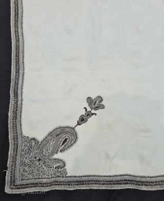 Very Fine Kantha Quilted and embroidered White on White, With Paisley Bute Design in four Corners, cotton Kantha Probably From East Bengal(Bangladesh) region, India. c.1850-1875. Its size is 136cmX200cm (20210208_171122).