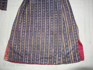 Mashru costume From Deccan, India. This Mashru weaving done in Deccan,Probably Hyderabad South India, Its Silk And Cotton with gold Stripes And Buta. Inside Roller Print cloth,Its size is L-97cm,W65cm,S-13cmX67cm(DSC04481 New).