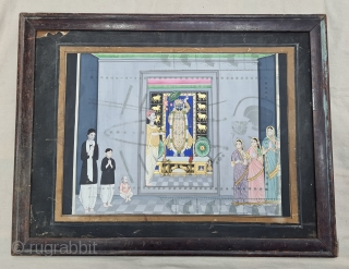 Manorath Miniature Painting of Shrinathji on the Occasion of Dussehra, C.1860-1900, From  Nathdwara Rajasthan India. India. Opaque watercolor, gold on paper. Its size is 44cmX59cm(20210216_162928).