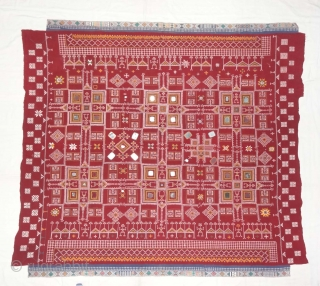 Odhani Bishnoi Shawl From Shekhawati District of Rajasthan, India.Showing the Different Chopat Designs, Embroidered on cotton Khadder (Village Khadi)cloth with natural colours,From the Villages of Shekhawati District of Rajasthan. This were traditionally  ...
