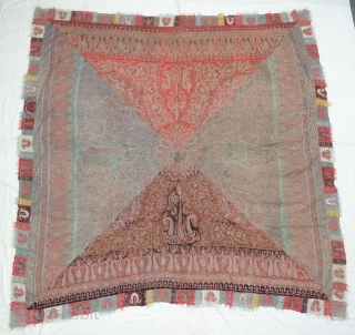 Char-Bagh Embroidered Square shawl(Rumal),From Kashmir India.C.1860.Four Section of Different Colours variations with embroidery known as Char-Bagh. Rare kind of Square Shawl(Rumal).Its size is 192cmX200cm. Ask more Detail Pictures(DSC05024).