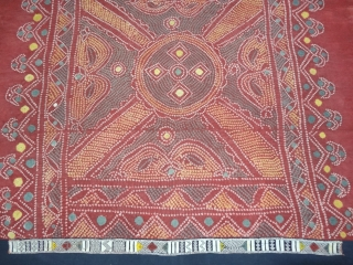 Single Bandh Tie and Dye Odhani From Shekhawati District of Rajasthan. India.Its Very rare Single Bandh Tie and Dye Odhani. Natural Colours On the Khadi Cotton.C.1900.Its size is 135CmX190cm(DSC04988).