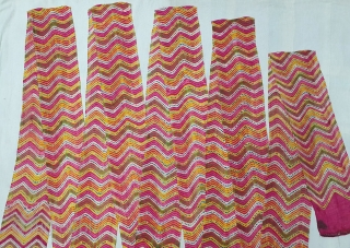 Muslin turban cloth tie-dyed in multiple colours in lahariya (wave) style, From Sekhawati District  Rajasthan. India. c.1900. Its size is near by 8 to 10 miters(20200321_144951).