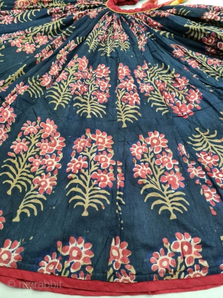 An Very Rare And Very Large Indigo Blue Tree Design, Ghaghra (Skirt) Mordant- And Resist-Dyed Cotton, From Rajasthan India. India. c.1850-1870. Its size is L-68cm,Circle about 1380cm. Approx. (20210330_115934).