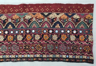 Very Fine Embroidered and Tie and dye Skirt (Parha) Length (Panel) From the Lohana Group Probably from the Diplo, Tharparkar Sindh Region of Pakistan. India. C.1825-1850.Natural Color Tie and Dye , Hand  ...