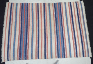 Khadi (Cotton) Striped Jail Dhurries From Kutch Gujarat,India.C.1900.Good Condition. Its size is 160cmX242cm(Large-size)(DSC05321).