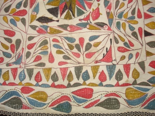 Kantha Quilted and embroidered cotton kantha Probably From East Bengal(Bangladesh) region, India.C.1900.Its size is 86cmX88cm. Very Good Condition(DSC04479 New).