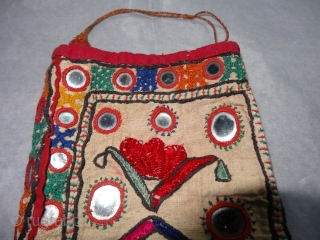 Dowry Bujki Bag From Sindh Region of Pakistan, India.Cotton Embroidered with Silk, Its size is 14cmX24m(DSC03292 New).