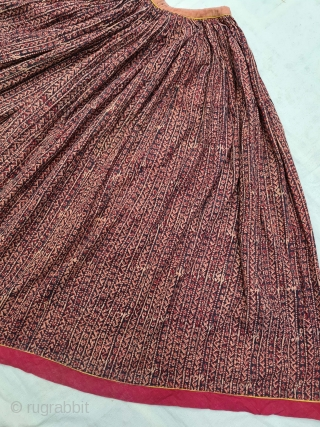 An Rare Wood-Block Print Ghagra (Skirt) Mordant- And Resist-Dyed Cotton, From Rajasthan India. India. c.1850-1870. Its size is L-93cm,Circle about 525cm Approx(20210414_160858).