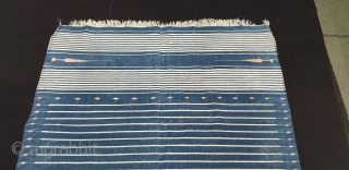 Indigo Blue,Jail Dhurrie(Cotton)Blue-White striped with mahi motif. Bikaner, Rajasthan. India.C.1900.Its size is 110cmX198cm(20190601_171523).