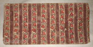 Early Sutra Book Cover, Wood block Print on cotton textile, On the White-Brown base colour with flower design,From Rajasthan. India.Circa 1900.Its size is 15cmx31cm(DSC08097).