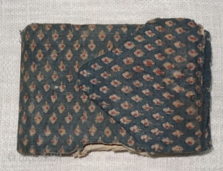 Holy Book of mythology, written in devanagari lipi on the paper, Khadi Cotton On Indigo base colour with flower design,From Rajasthan. India.Circa 1900.Its size is 14cmx55cm(DDSC07087).