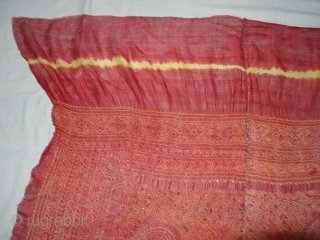 Kumbhi,The Tie and Dye Odhani(Bandhani)With Real Zari Badla Work embroidery And border.From Kutch Region of Gujarat,India.C.1900.Condition is very good.Its size is 130cmx160cm(DSC03784 New).