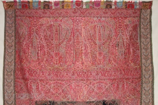 Sikh Period Kalamkar Jamawar Long Shawl From Kashmir, India.C.1830-1860.Its Size is 140cmx315cm.Perfect in the condition(DSC07694).