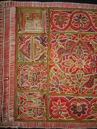 Jain Shrine cloth Ashtamangal, Mochi embroidered Silk on wool,From Gujarat, India.Its size is 27x36cm. c.1900. Condition is very good(DSC08028 New).